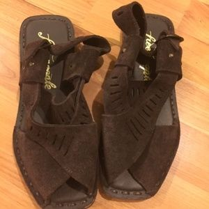 Brown Suede Leather Free People Sandals NWOB Sz 8
